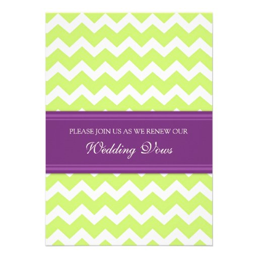 lime plum chevron wedding vow renewal invitations - Wedding Renewal Invitations