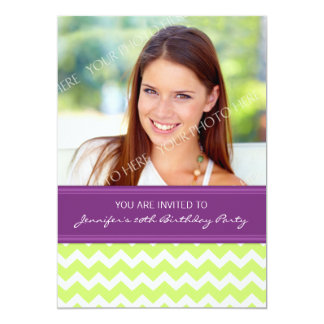 Lime Plum Photo 20th Birthday Party Invitations