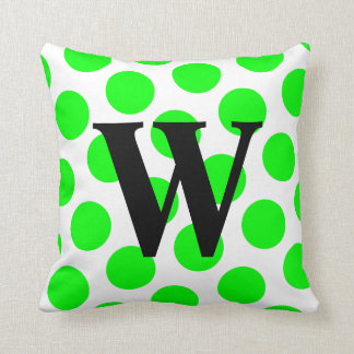 Lime Polka Dot Monogram Throw Pillow