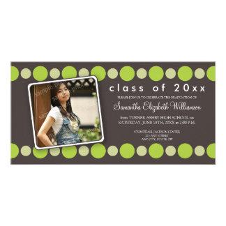 Lime Polkadots Custom Graduation Announcement Photo Card