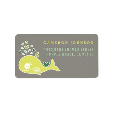 Beach Themed Lime Pregnant Mom Whale Baby Shower Address Labels