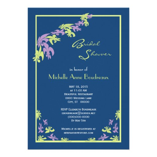 Lime Purple Blue Fleur de Lis Modern Bridal Shower Personalized Invitation