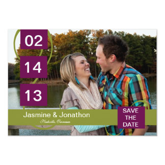 Lime + Purple Photo Save the Date Wedding Cards