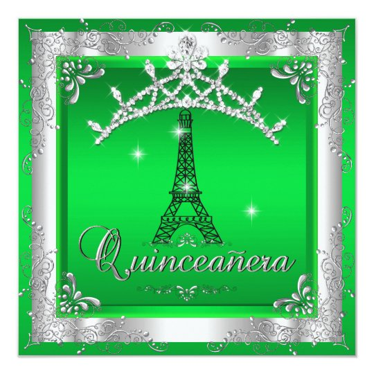 Lime Quinceanera 15 Silver Tiara Eiffel Tower Card
