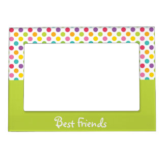 Lime & Rainbow Polka Dot Best Friends Magnetic Picture Frame