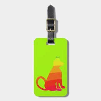 Lime Rainbow Pop Art Cat ID Tag CricketDiane