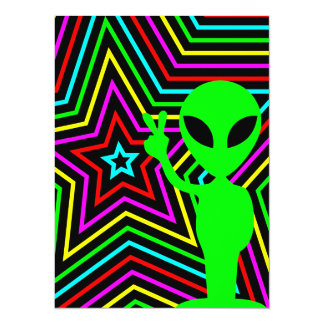 Lime Rainbow Stars Alien Birthday Party Card