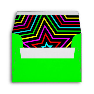 Lime Rainbow Stars Envelope