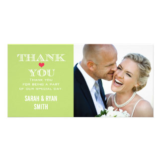 Lime Red Heart Wedding Photo Thank You Cards Photo Card Template