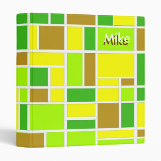 Lime Retro Squares Binder