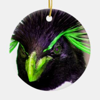 Lime Rockhopper penguin Ceramic Ornament