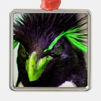 Lime Rockhopper penguin Metal Ornament