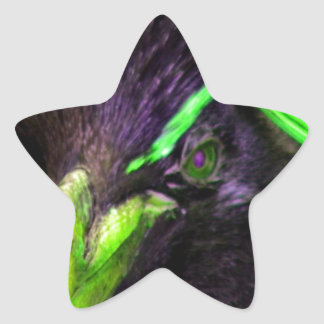 Lime Rockhopper penguin Star Sticker