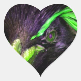 Lime Rockhopper penguin Heart Sticker