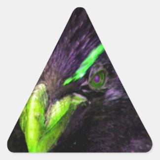 Lime Rockhopper penguin Triangle Sticker
