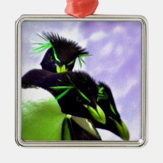 Lime Rockhopper Penguins Metal Ornament