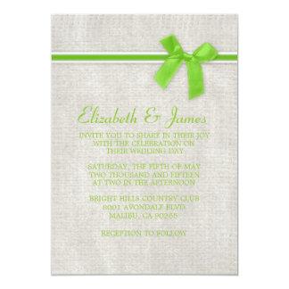 Lime Rustic Burlap Wedding Invitations