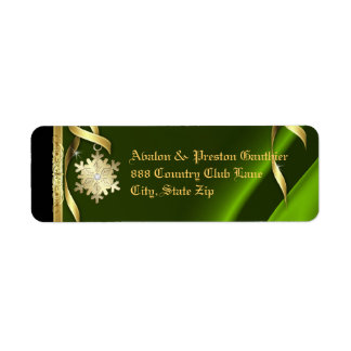 Lime Shimmering Snowflake Christmas Address Label