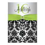 Lime, Silver, and Black Damask Sweet 16 Invitation