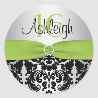 Lime Silver and Black Damask Sweet 16 Sticker