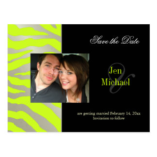 Lime/silver/zebra Save the Date Photo postcards, Postcard