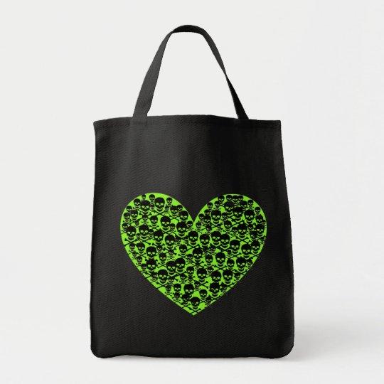 Lime Skull Heart Tote Bag