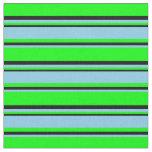 [ Thumbnail: Lime, Sky Blue & Black Pattern Fabric ]