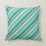 [ Thumbnail: Lime, Slate Blue, Beige, and Sky Blue Colored Throw Pillow ]