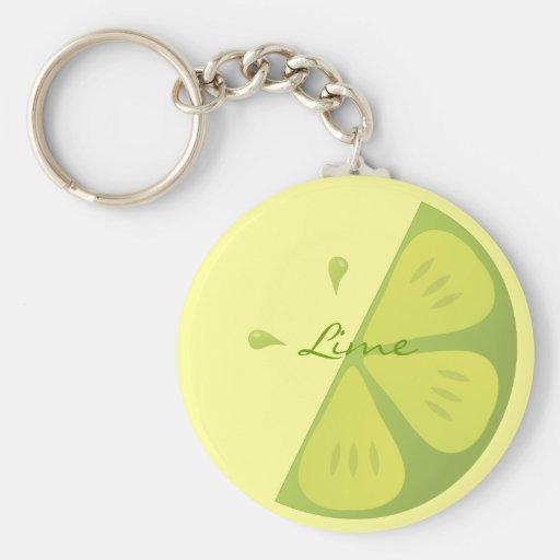 Lime Slice Basic Round Button Keychain