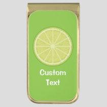 Lime Slice Gold Finish Money Clip