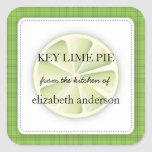 Lime Slice Green Plaid From the Kitchen of Label Square Sticker