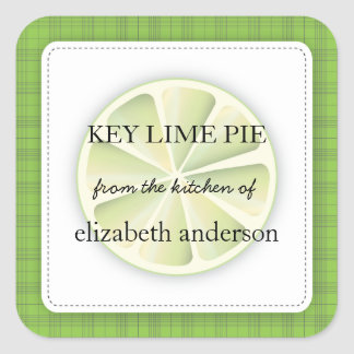 Lime Slice Green Plaid From the Kitchen of Label Square Stickers