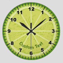 Lime Slice Large Clock