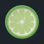 "Lime Slice Paper Plate<br><div class=""desc"">Paper plates designed to look like half of a lime. Great for a summertime picnic.</div>"