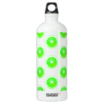 Lime Slice Polka Dots Pattern Aluminum Water Bottle