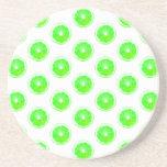 Lime Slice Polka Dots Pattern Beverage Coaster