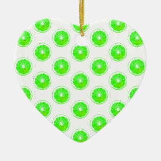 Lime Slice Polka Dots Pattern Ceramic Ornament