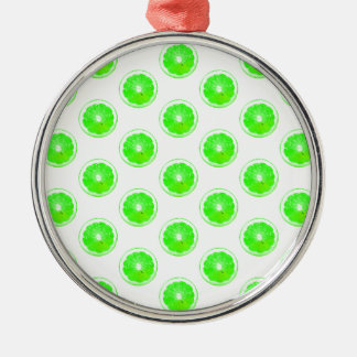 Lime Slice Polka Dots Pattern Metal Ornament