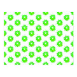 Lime Slice Polka Dots Pattern Postcard