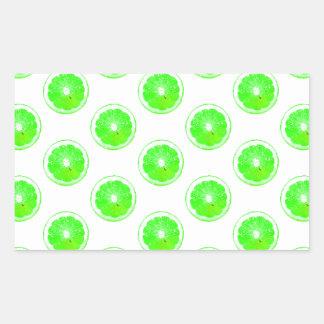 Lime Slice Polka Dots Pattern Rectangular Sticker