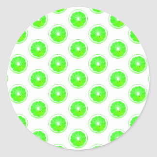 Lime Slice Polka Dots Pattern Classic Round Sticker