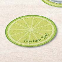 Lime Slice Round Paper Coaster
