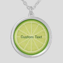 Lime Slice Silver Plated Necklace