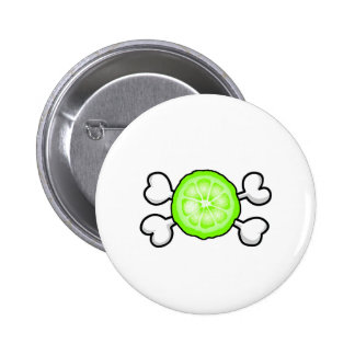 lime slice Skull and Crossbones Button