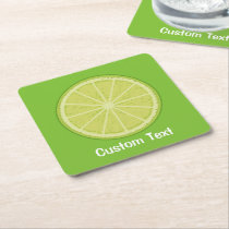 Lime Slice Square Paper Coaster
