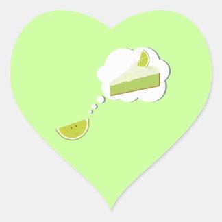 Lime slice thinking of pie heart sticker