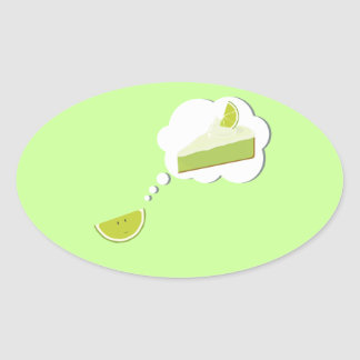 Lime slice thinking of pie oval sticker