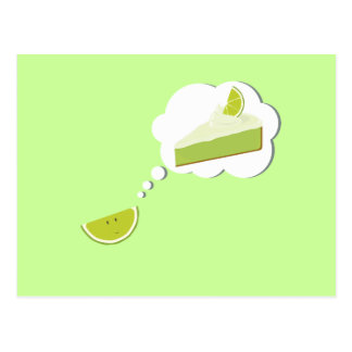 Lime slice thinking of pie postcard