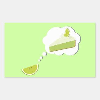 Lime slice thinking of pie rectangular sticker