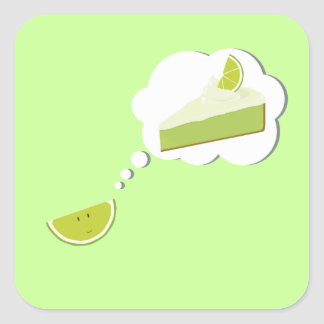 Lime slice thinking of pie square sticker